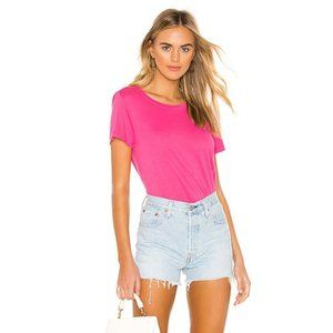 HUDSON Jeans Distressed Pink Fuchsia Cotton Tshirt